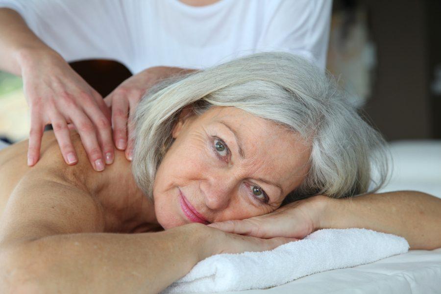 Senior woman having a massage