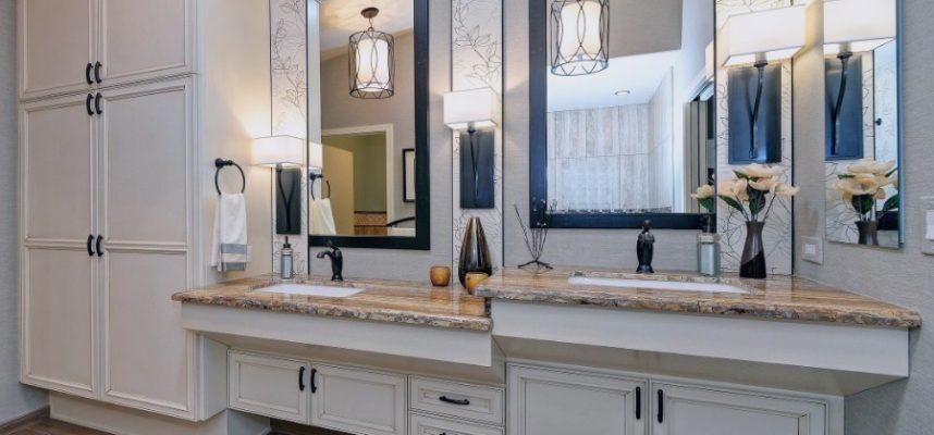 bathroom - two sink heights